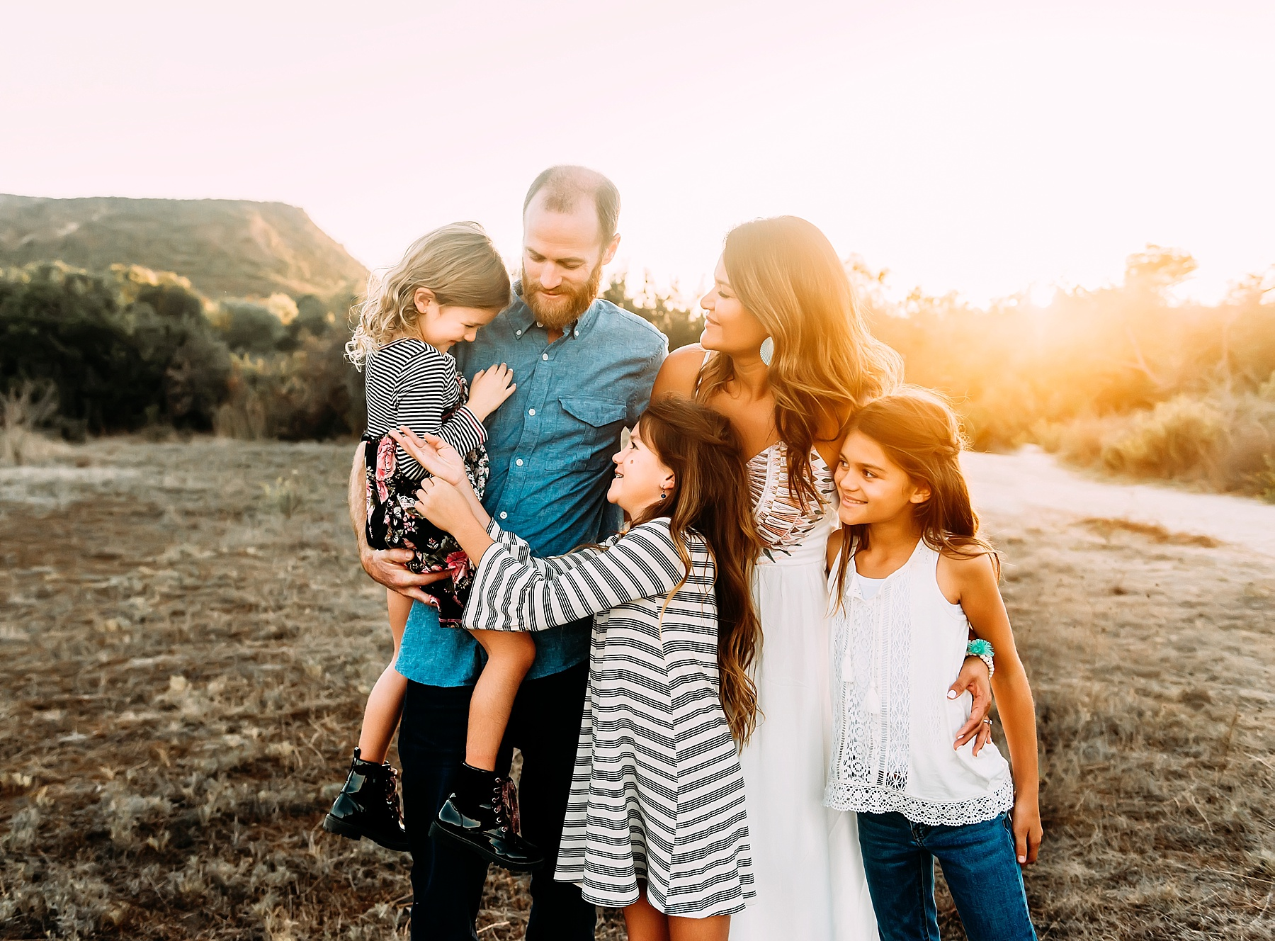 family photography carlsbad family of five photos in a field