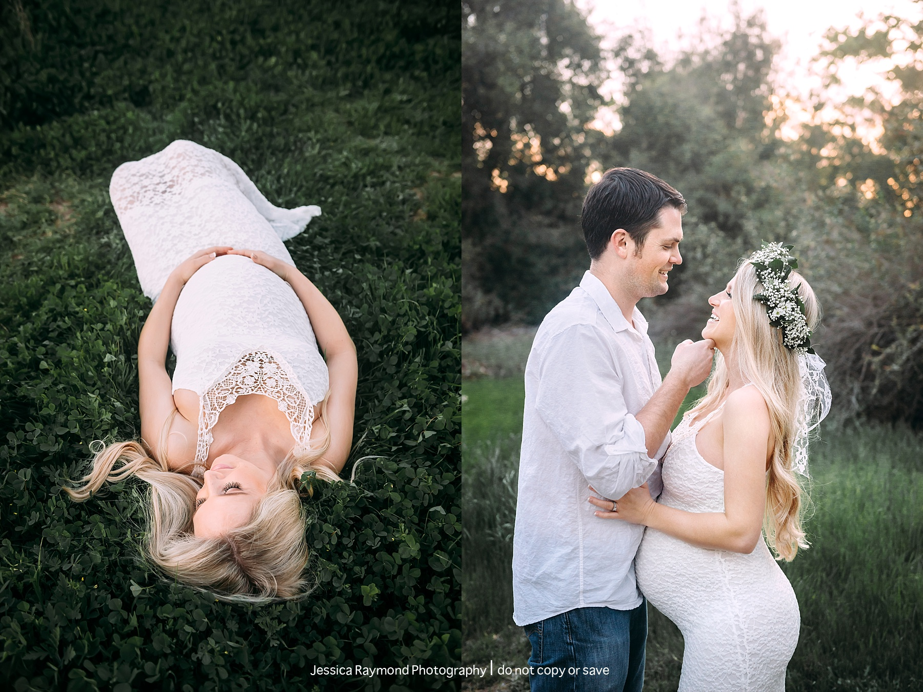 poway maternity photographer laying maternity session in field