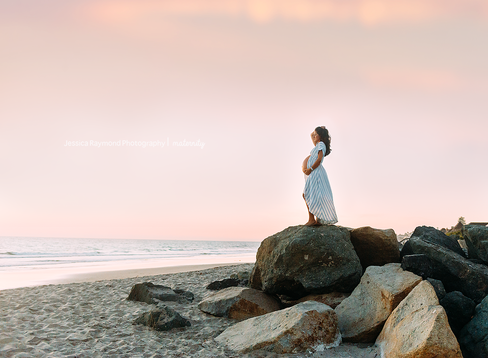 encinitas beach maternity photographer beach maternity pictures pose on rock