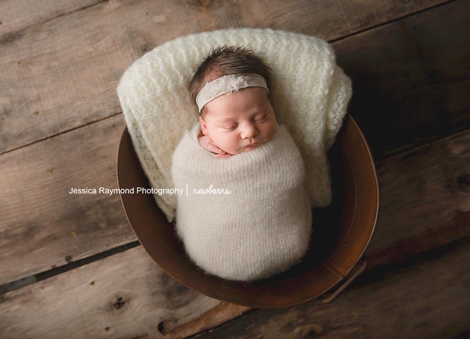 san diego newborn pictures baby girl in antique bucket