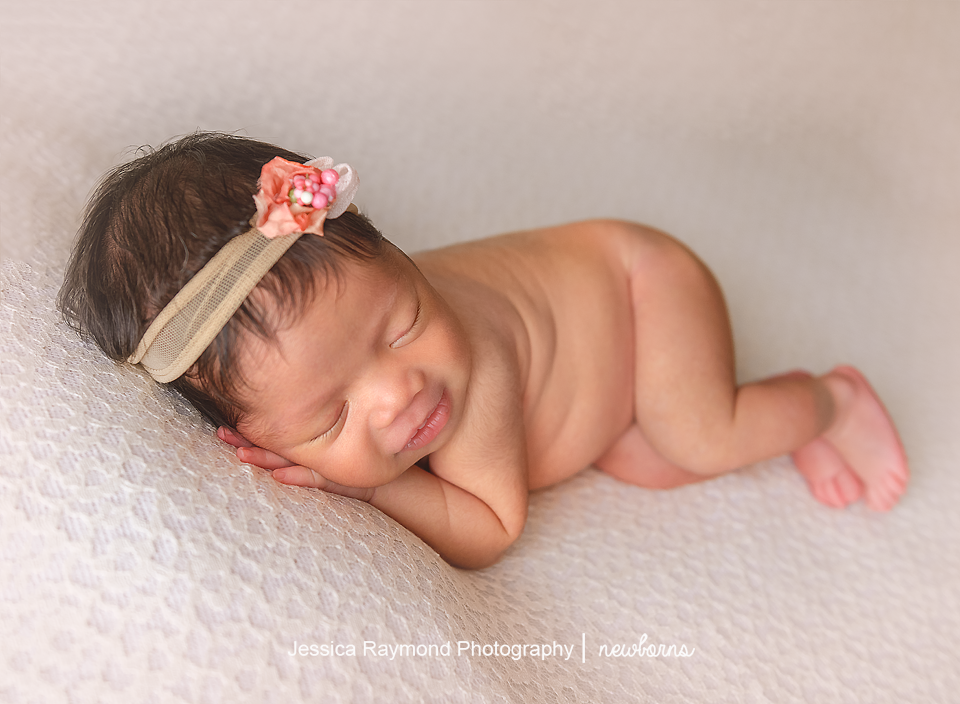 san diego baby photography newborn session baby girl on beanbag