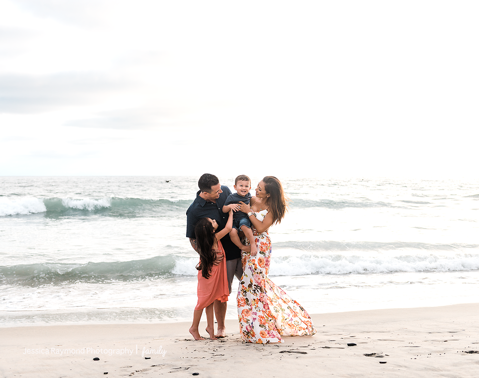 family photography oceanside best family photographer family of four beach pose