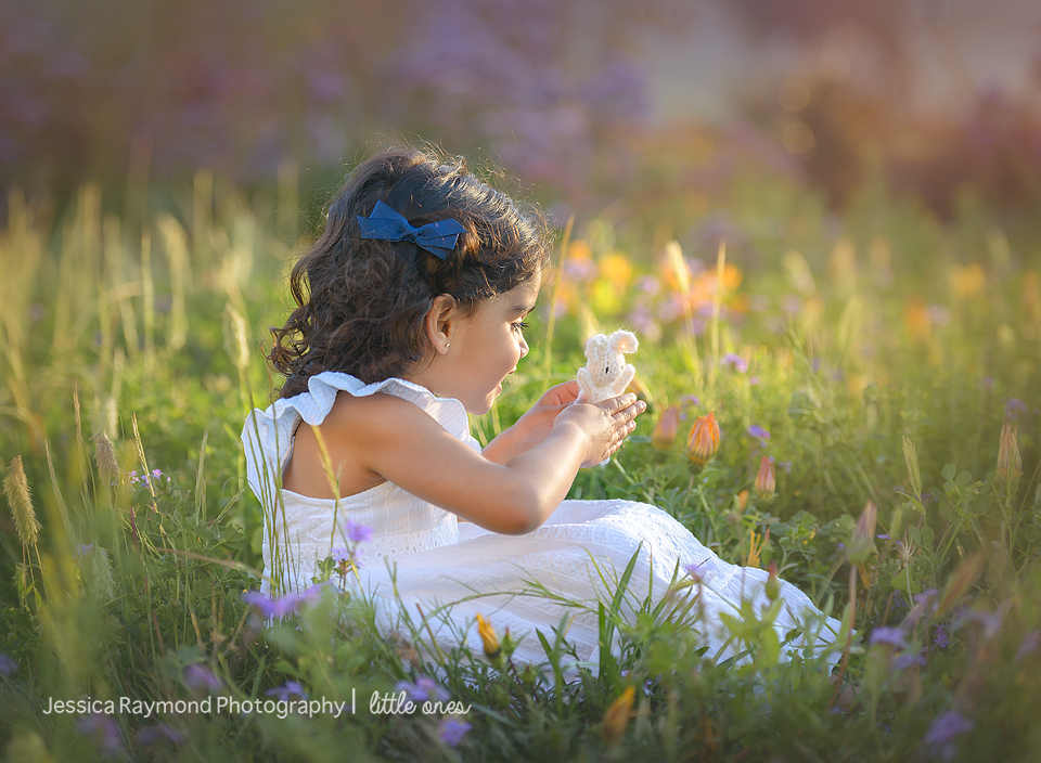 Child Photography Session Carlsbad Children's Photography Spring Portraits Girl In Flowers Holding Bunny