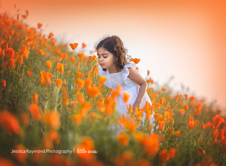 Child Photography Session Carlsbad Children's Photography Spring Portraits Girl Smelling Flowers