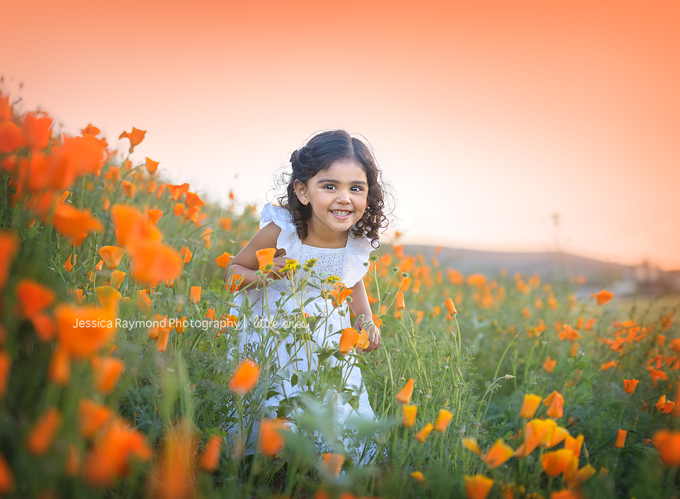Child Photography Session Carlsbad Children's Photography Spring Portraits Girl In California poppy field