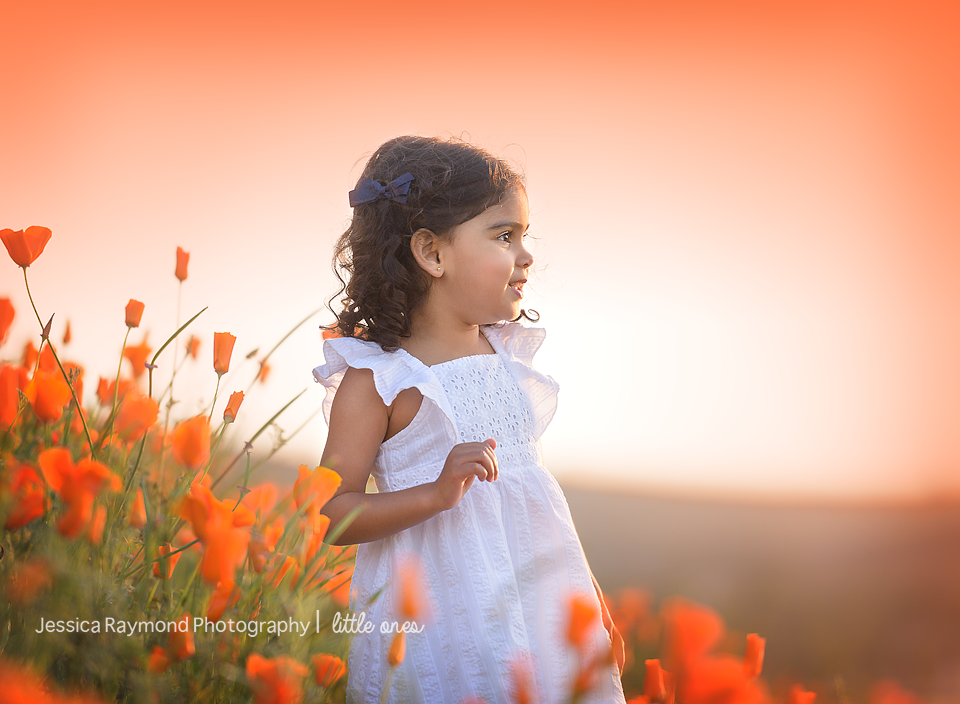 Child Photography Session Photography session Spring Portraits Girl watching sunset