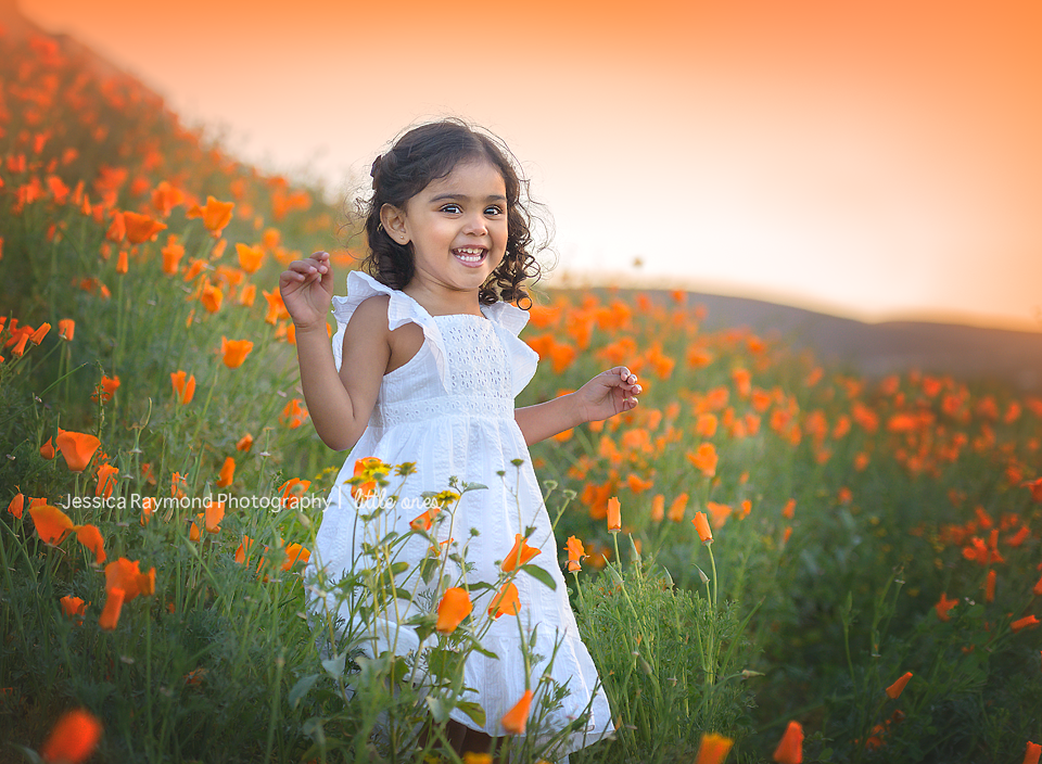Child Photography Session Photography session Spring Portraits Girl Laughing In Flower field