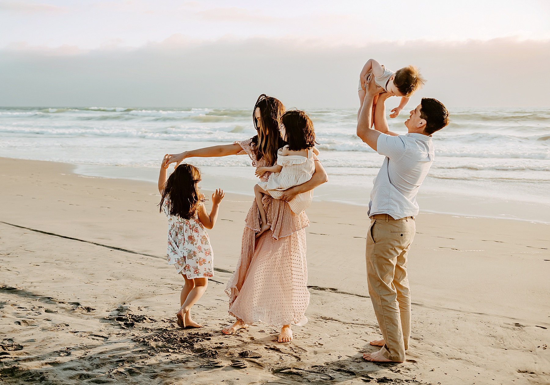 sunset family pictures del mar beach family of 5 dancing