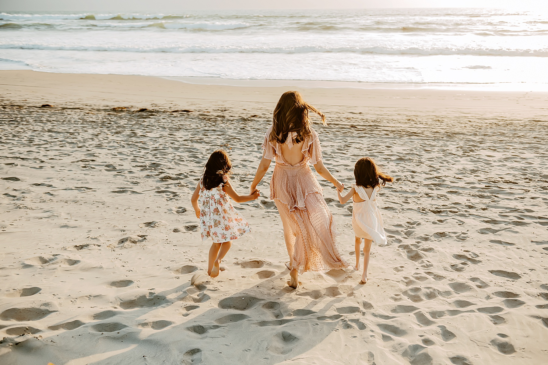 sunset family pictures del mar beach mom and kids